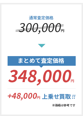 通常査定価格 300,000円 → まとめて査定価格 348,000円(+48,000円上乗せ買い取り!)※価格は参考です